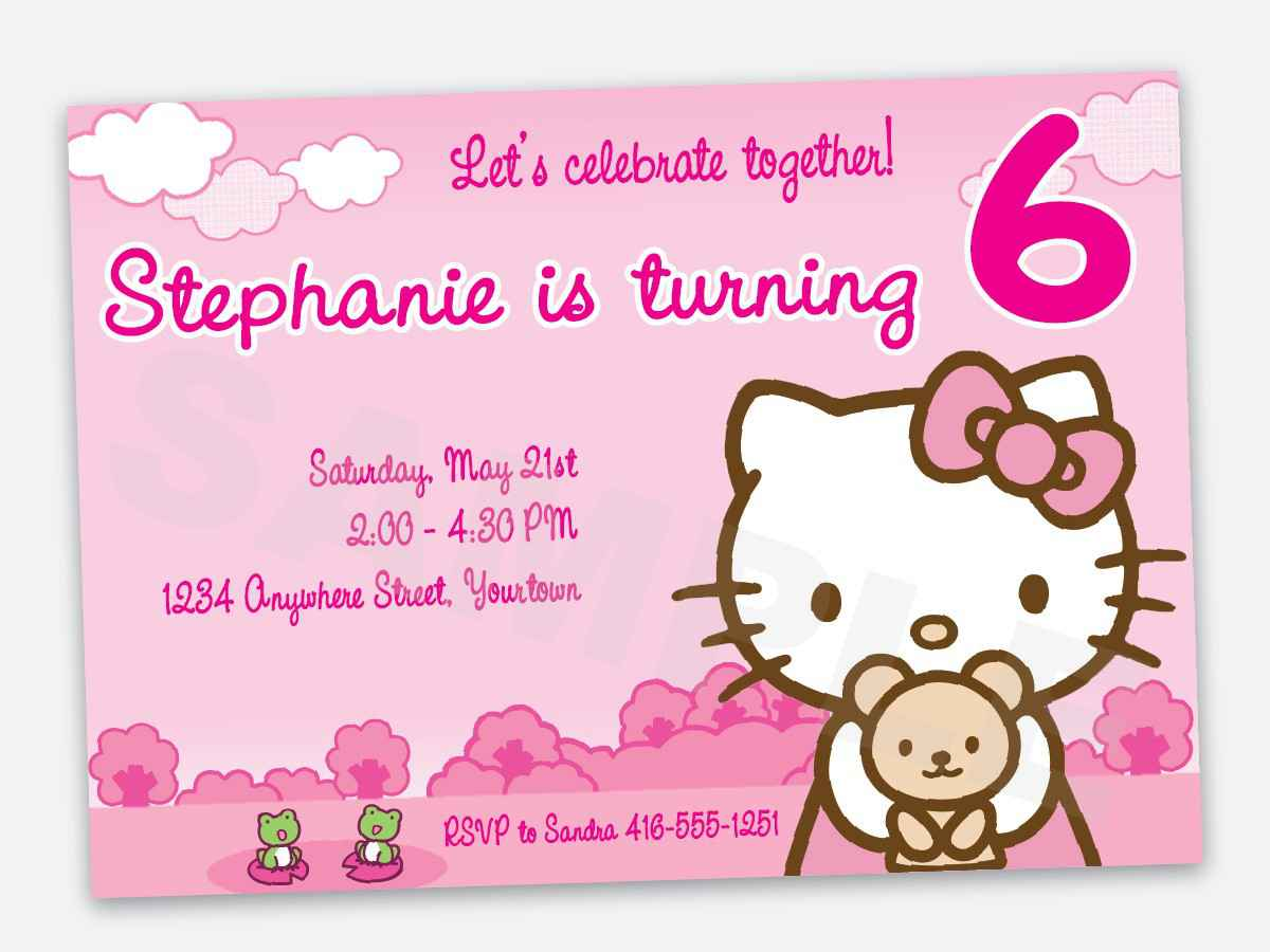 birthday invitation hello kitty theme ; Hello-Kitty-1st-Birthday-Invitations