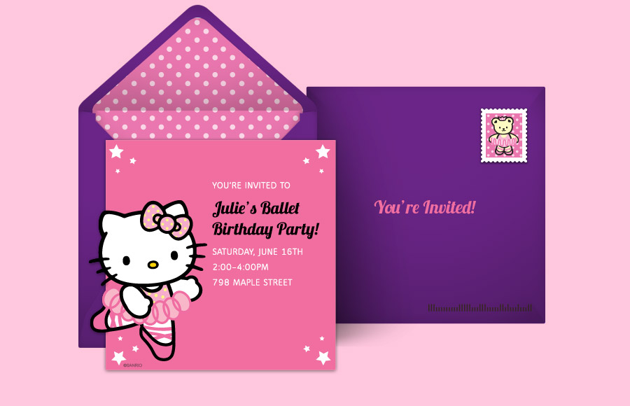 birthday invitation hello kitty theme ; hellokitty_ballet_900x580
