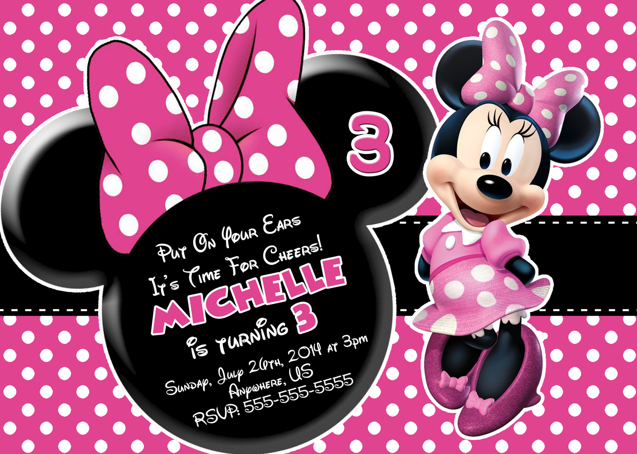birthday invitation minnie mouse theme ; Minnie-Mouse-Birthday-Invitations-at-Walmart