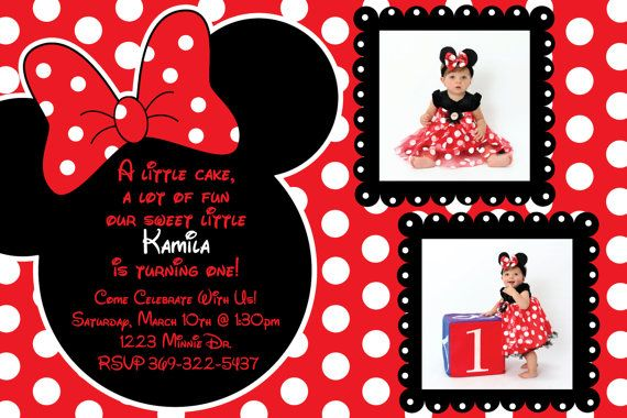 birthday invitation minnie mouse theme ; red-minnie