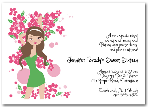 birthday invitation pictures images ; brunette-girl-16th-birthday-invitation-birthday-invitation