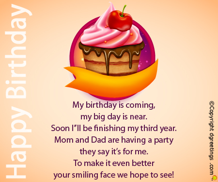 birthday invitation quotes for 3 year old ; my-birthday-is-coming-birthday-invitation-card-3