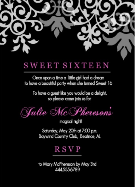 birthday invitation taglines ; Black-And-Pink-Flourish-Sweet-16-Birthday-Set-Invitations