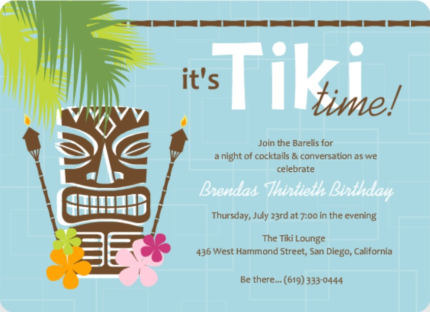 birthday invitation taglines ; Blue-Retro-Pattern-Tiki-Party-Invite