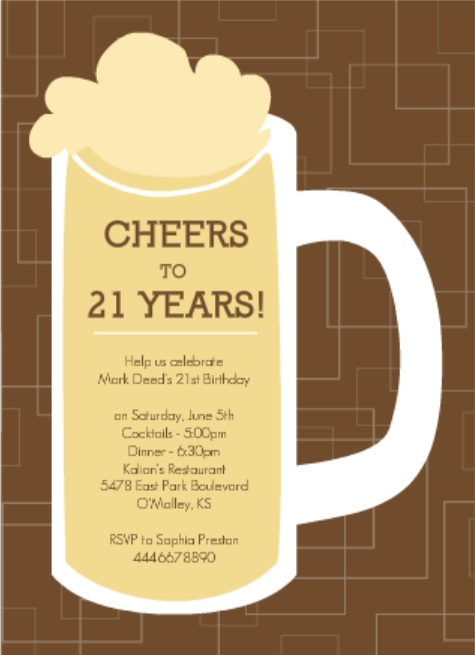 birthday invitation taglines ; Brown-Beers-Cheers-Set-21st-Birthday-Invitation