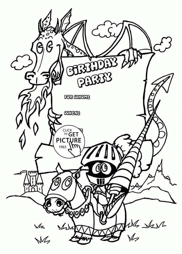 birthday invitations coloring pages ; 3d414ba0fc31aac229c1e33319d335f9--dragon-birthday-parties-kids-holidays