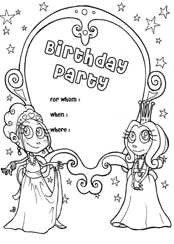 birthday invitations coloring pages ; Happy-Birthday-Party-Invitation-Coloring-Page