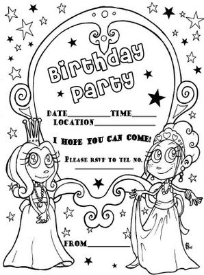 birthday invitations coloring pages ; birthday-party-invitation-coloring-page-princess