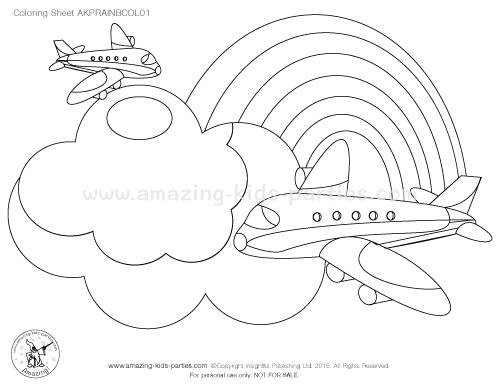 birthday invitations coloring pages ; rainbow-col01