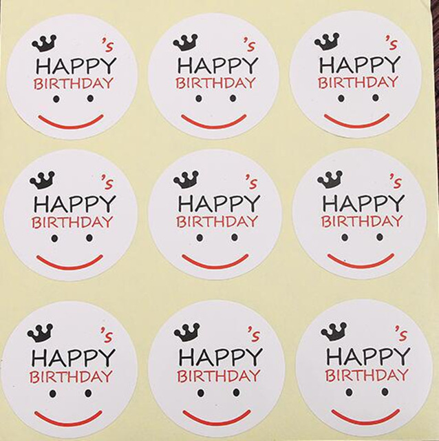 birthday label stickers ; 270-Smiling-face-HAPPY-BIRTHDAY-gift-seal-label-stickers-for-Handmade-Product-Party-Gift-Bag-Candy