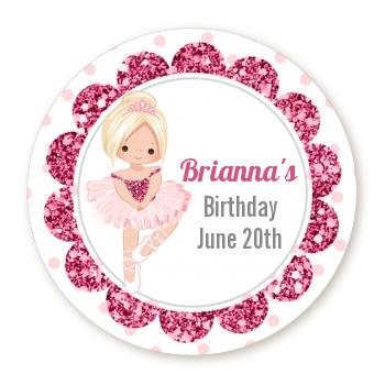 birthday label stickers ; ballerina_round_sticker_label