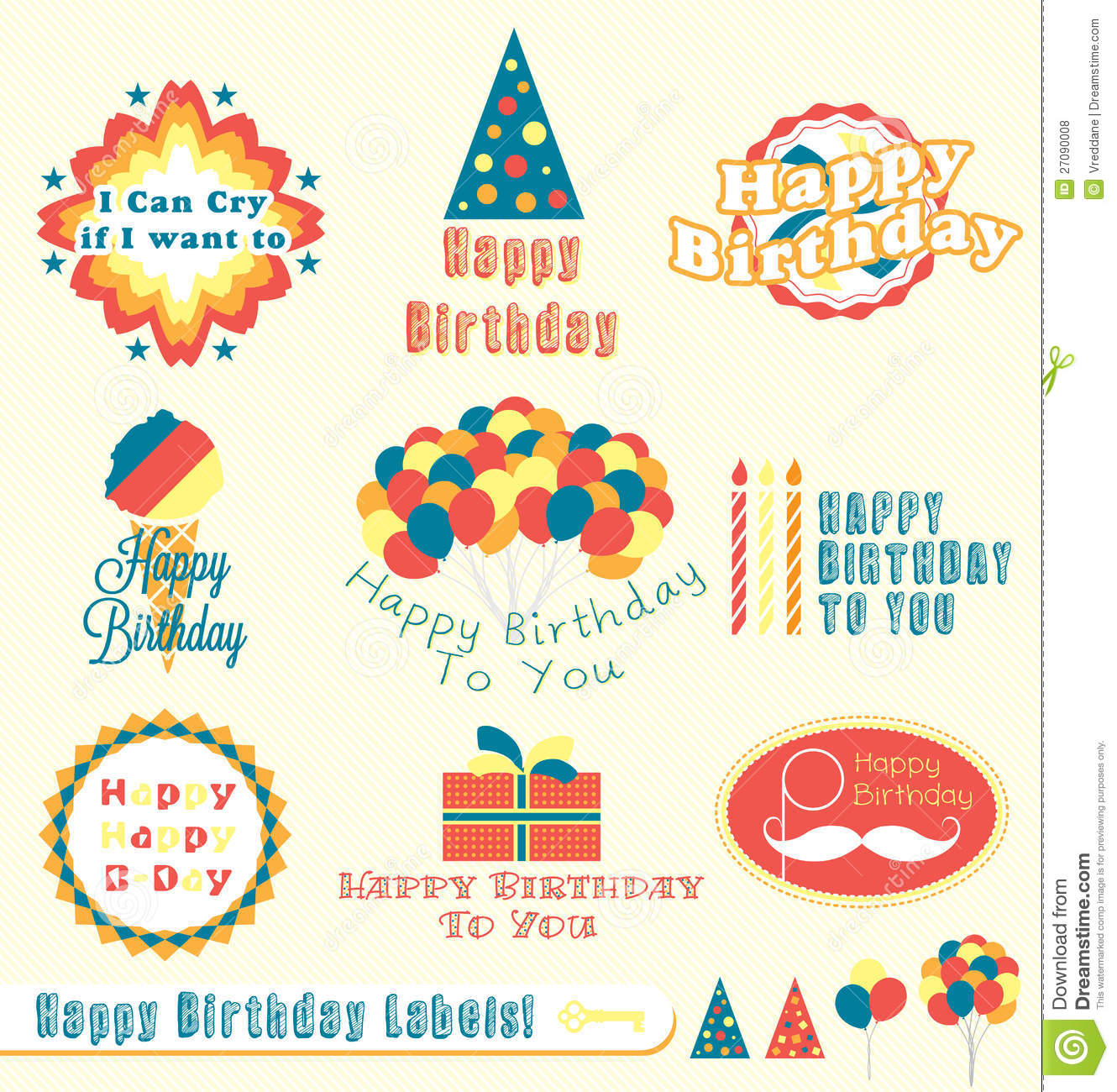 birthday label stickers ; retro-happy-birthday-labels-stickers-27090008