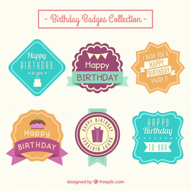 birthday labels ; colored-birthday-labels-in-vintage-style_23-2147550416