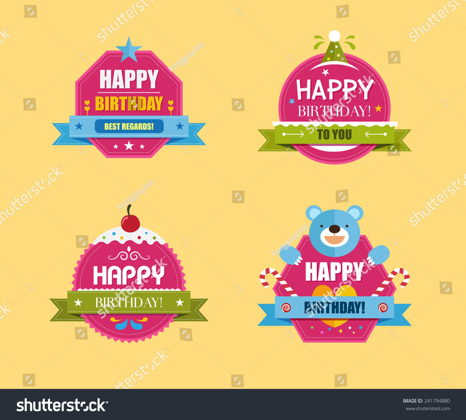 birthday labels ; stock-vector-happy-birthday-labels-collection-vector-illustration-241794880