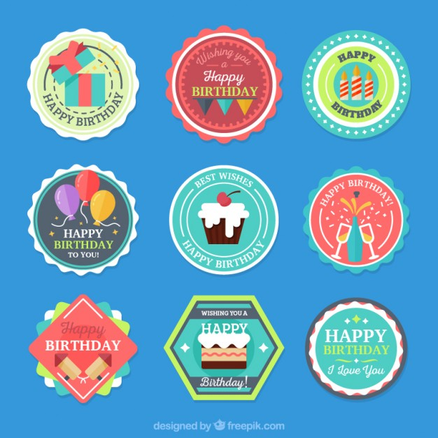 birthday labels free ; collection-of-colored-birthday-label_23-2147550863