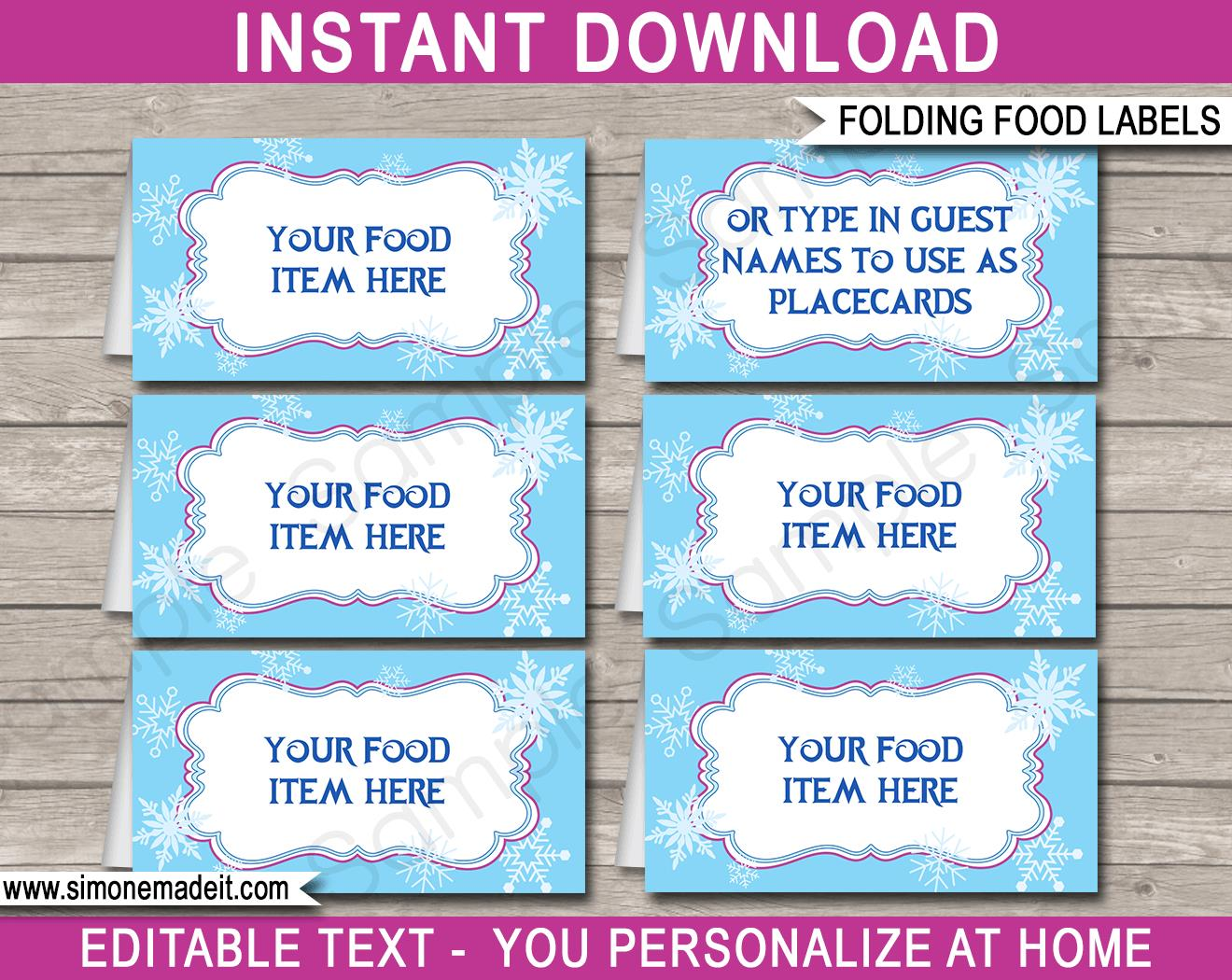 birthday labels template free ; Frozen-Party-Food-Labels-Printable-Template