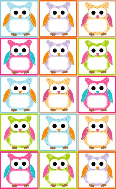 birthday labels template free ; Label-Owls-Template