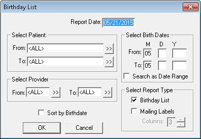 birthday mailing labels ; Birthday_List_dialog