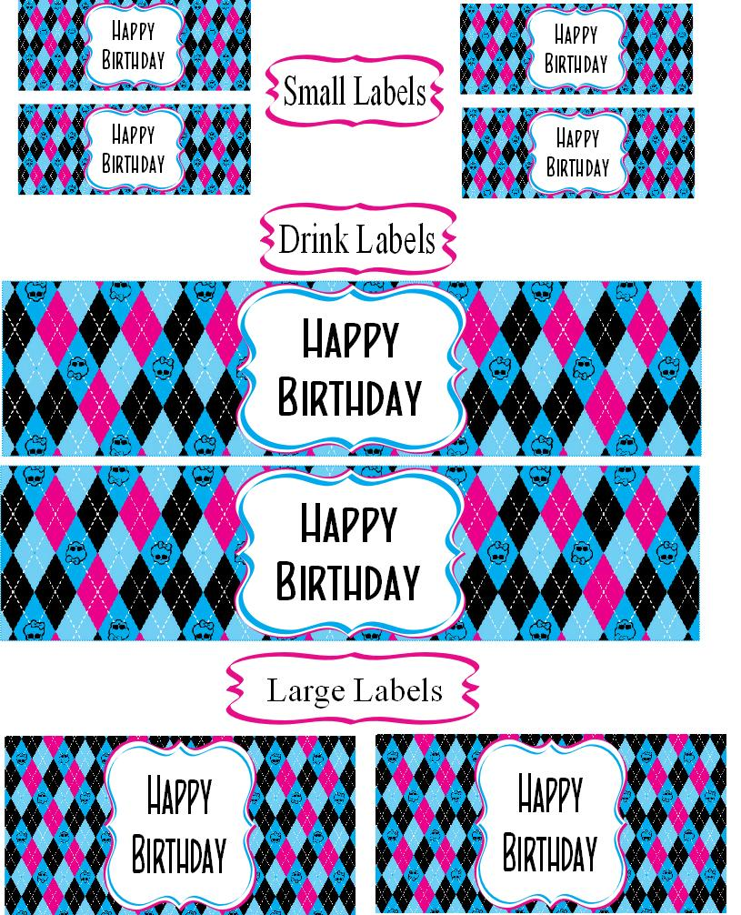 birthday mailing labels ; Monster+High+assorted+printable+happy+birthday+labels