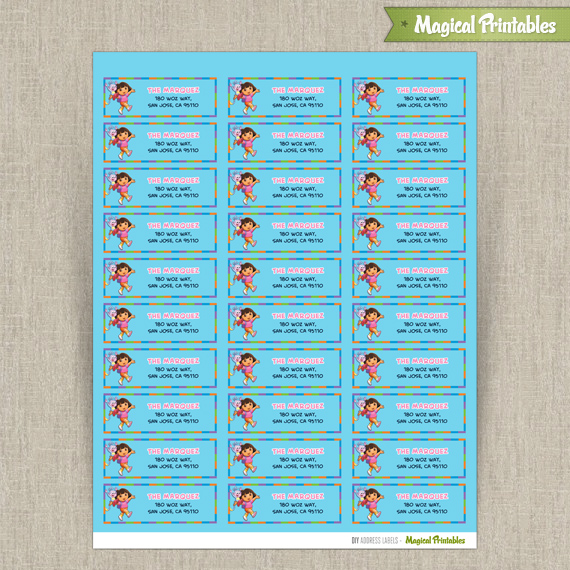 birthday mailing labels ; dora-the-explorer-address-labels2-570x570