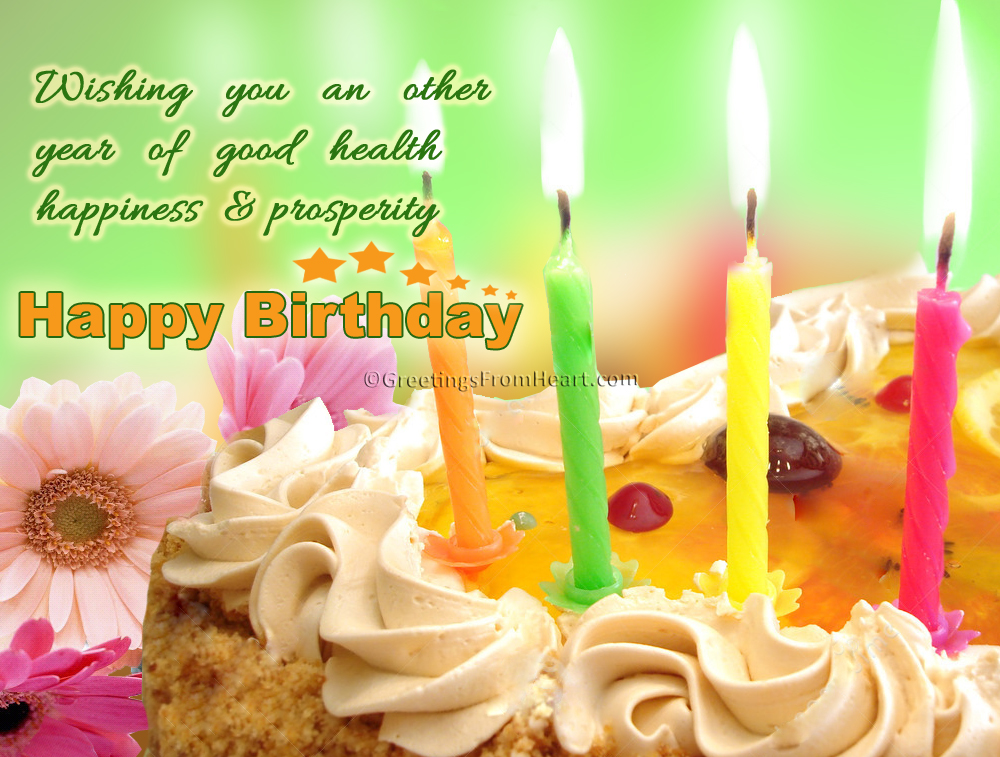 birthday message wishing good health ; happy-birthday-with-cake-and-flowers-greeting
