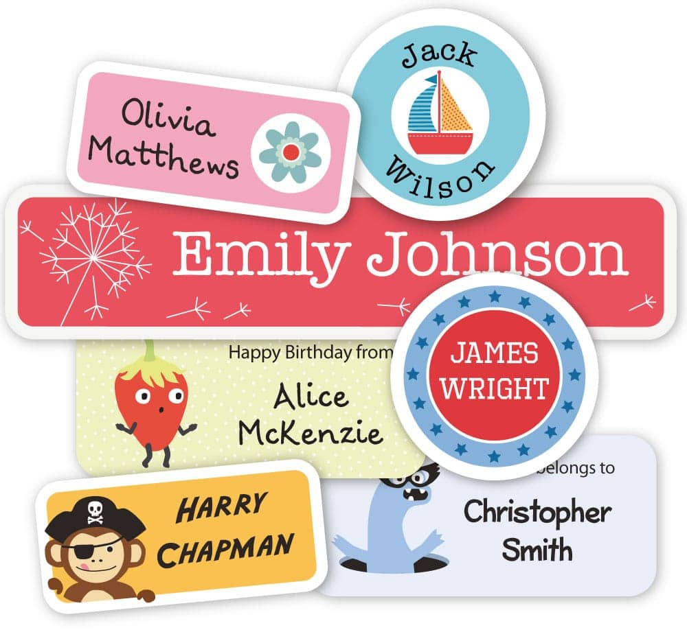 birthday name labels ; name-labels