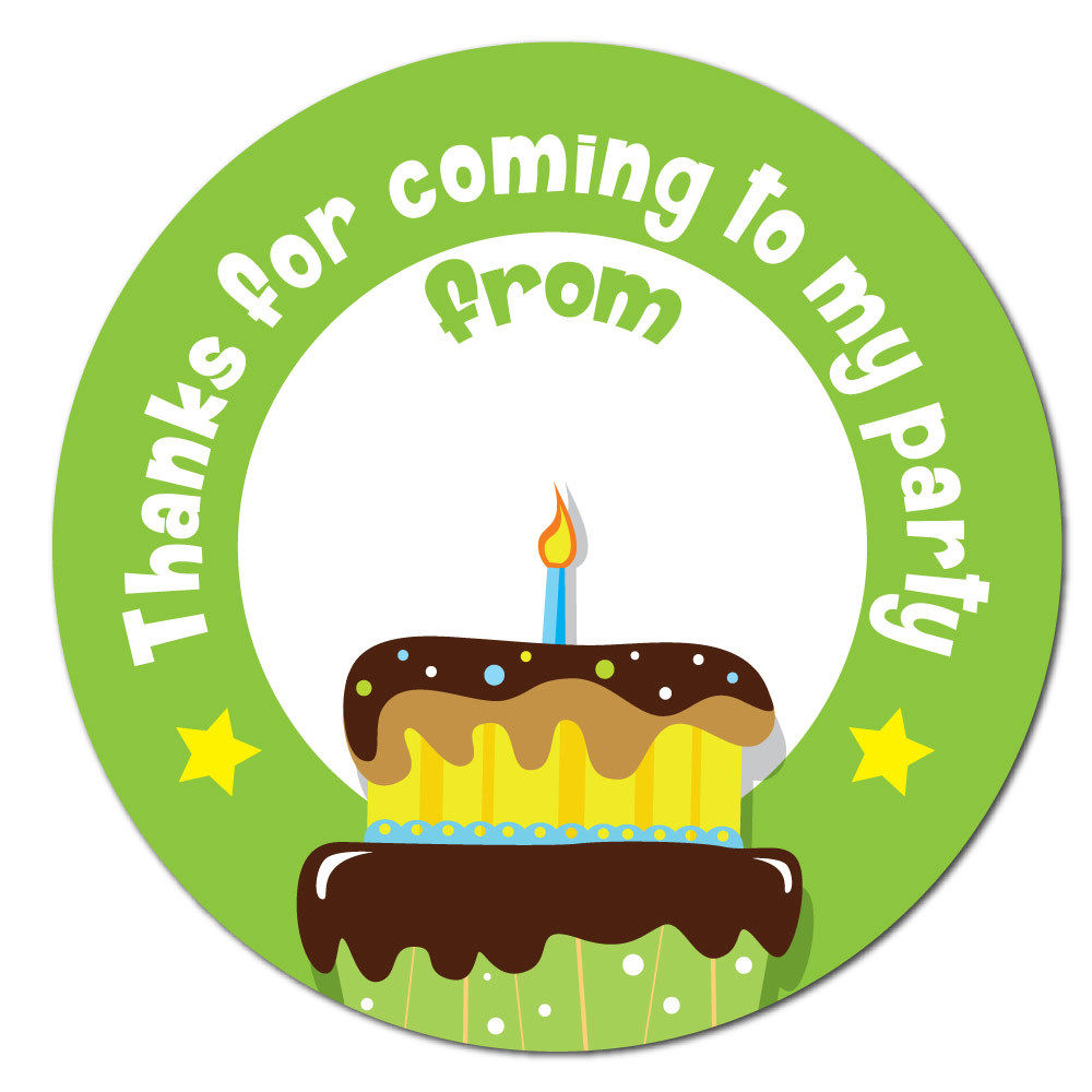 birthday name sticker ; Thanks-For-Coming-To-My-Party-Birthday-Stickers-60mm-space-for-name-green-191732200794