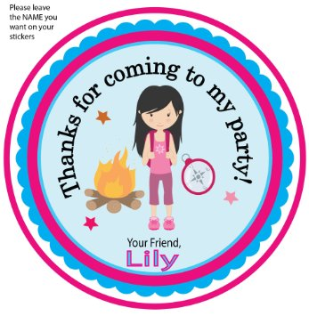 birthday name sticker ; set-of-12-camping-party-personalized-stickers-girl-dark-hair-stand-birthday-stickers-favor-labels-party-favor-camping-st_17832603