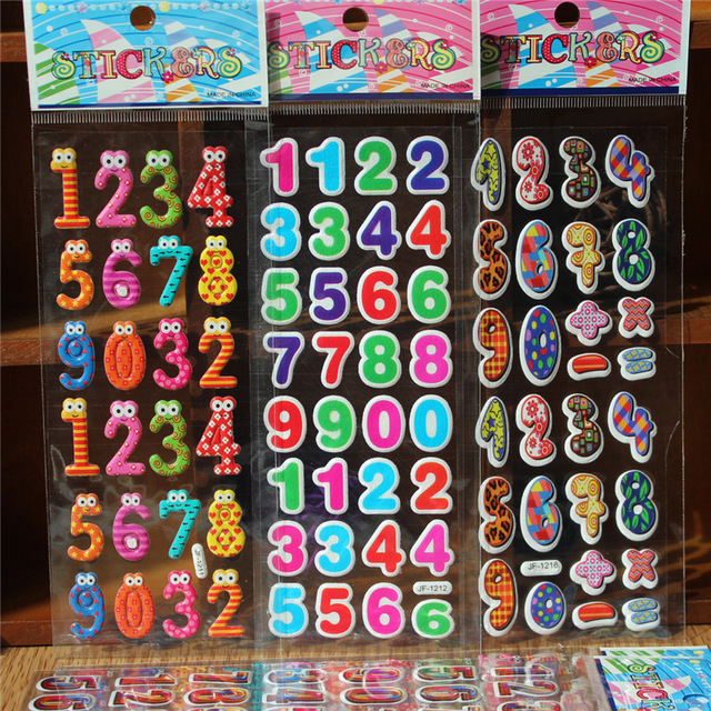 birthday number stickers ; 50-Sheets-lot-New-Cute-Stereo-Bubble-Sticker-3D-Stickers-Cartoon-Number-Stickers-Children-DIY-Toys