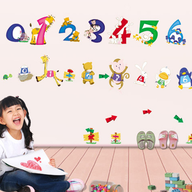 birthday number stickers ; Cartoon-Animal-Letters-Character-Number-Wall-Sticker-Baby-Kids-Nursery-Room-Birthday-Home-Decoration-English-Vinyl