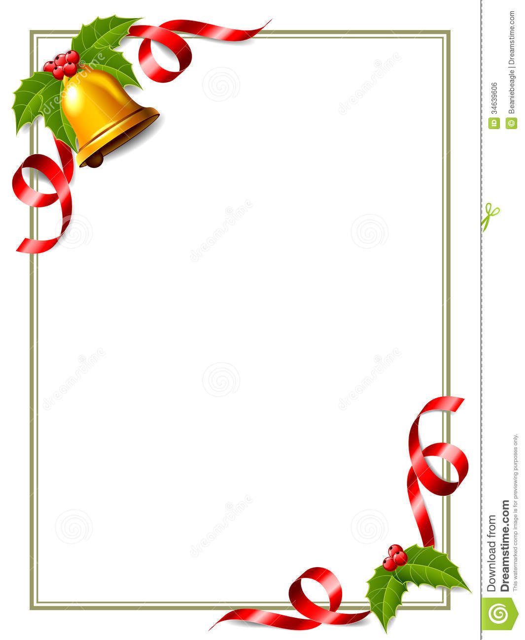 birthday page borders for microsoft word ; christas-border-christmas-decorated-some-holly-ribbon-gold-bell-34639606
