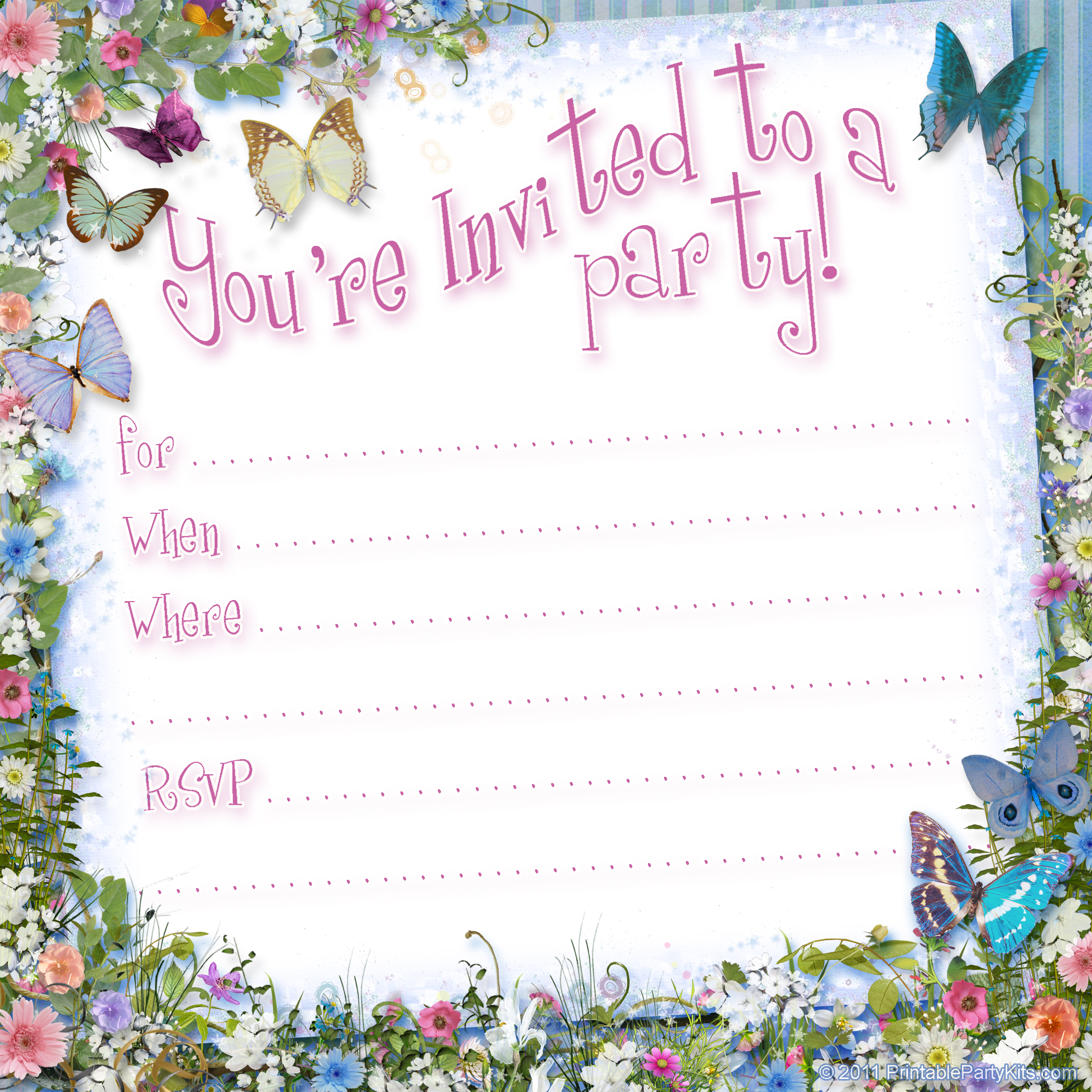 birthday page borders free ; butterfly-invitation-ppk