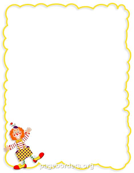 birthday page borders free ; clown-border-preview
