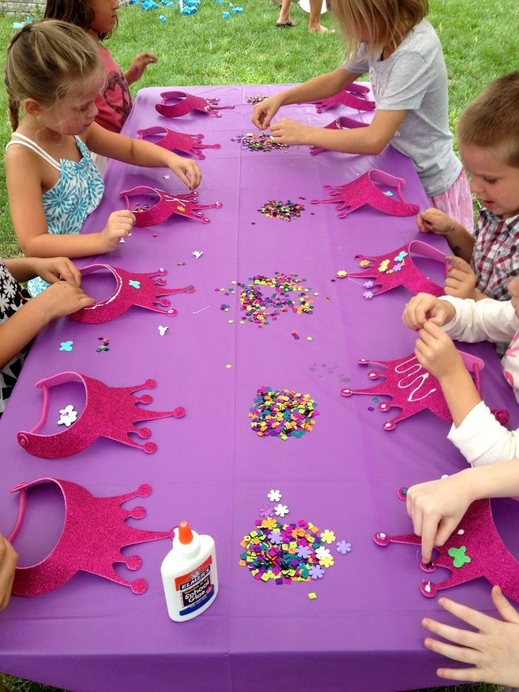 birthday party activities for 6 year olds ; 9b2eabe19faf8fa149cca201b487b3a6--disney-birthday-parties-princess-crowns