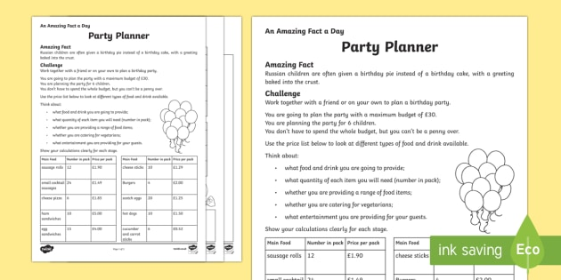 birthday party activity sheets ; t2-t-628-a-party-planner-activity-sheet_ver_1