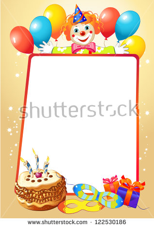 birthday party border ; stock-vector-birthday-decorative-border-with-balloons-and-clown-122530186
