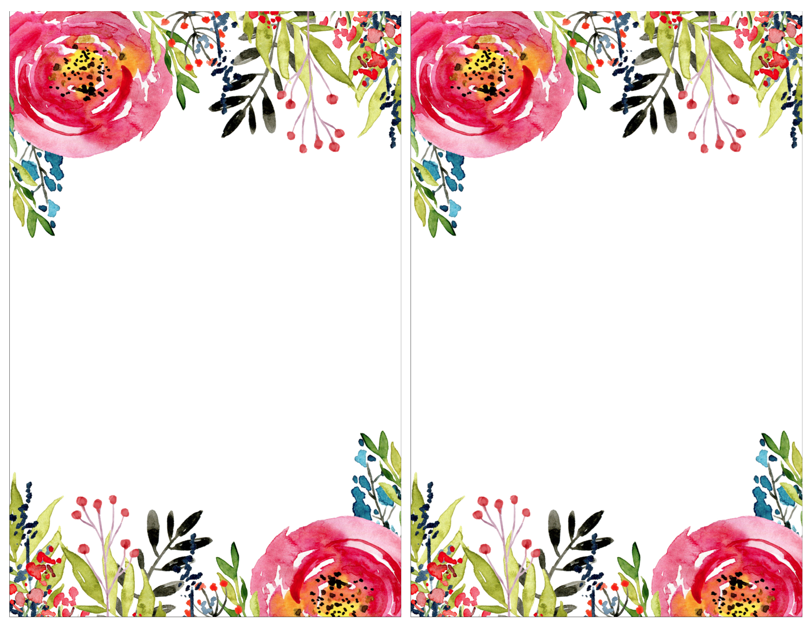 birthday party borders for invitations ; Flower-invitation-2-per-page