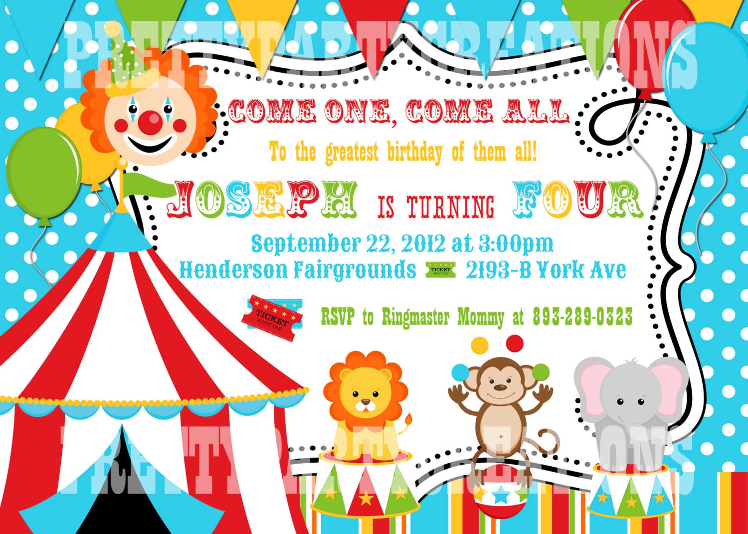 birthday party borders for invitations ; circus