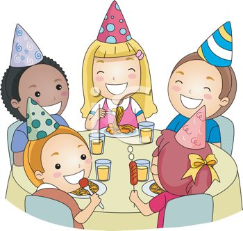 birthday party clipart ; 0511-1104-0114-3802_Cartoon_of_Children_at_a_Birthday_Party_clipart_image