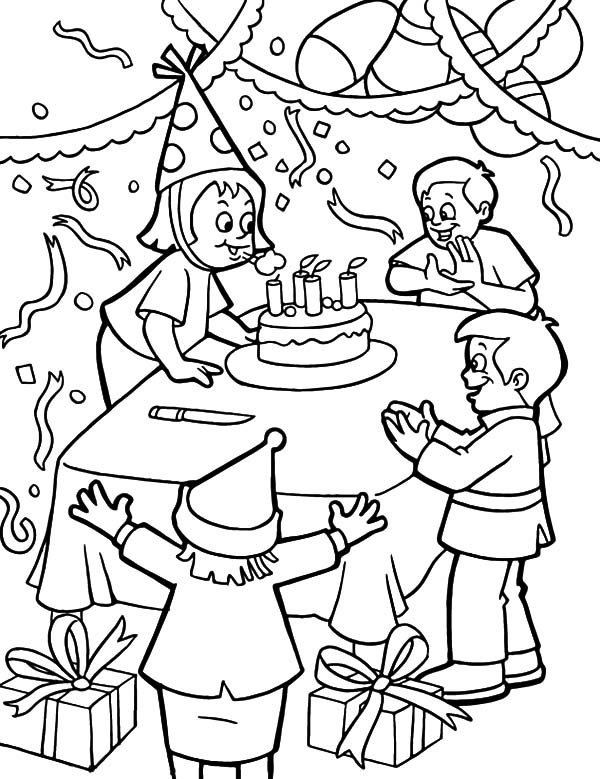 birthday party coloring ; Blowing-Candles-at-Birthday-Party-Coloring-Pages