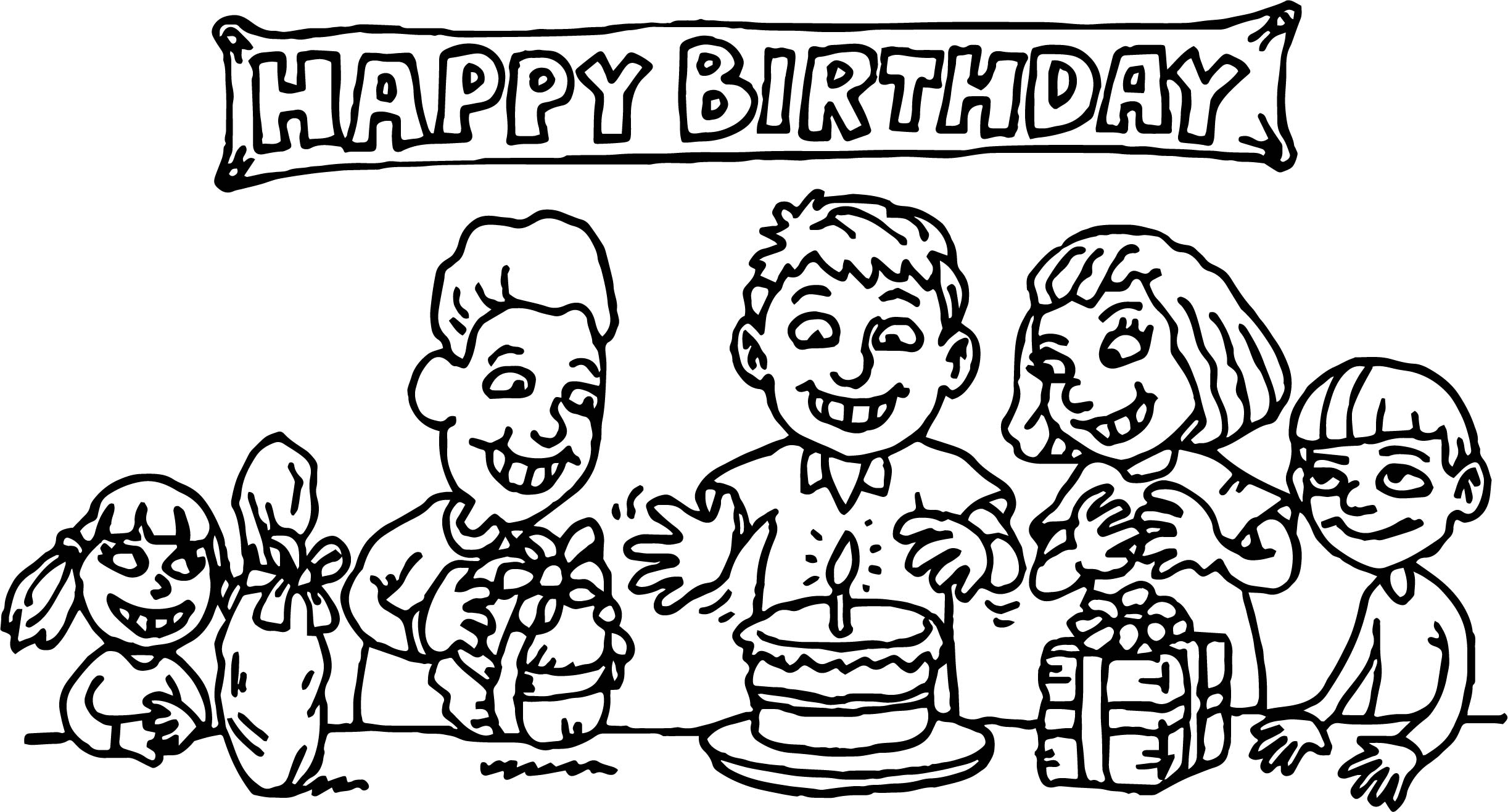 birthday party coloring ; Kids-Birthday-Party-Coloring-Page