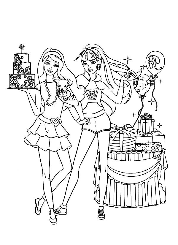 birthday party coloring pages ; Barbie-Birthday-Party-Coloring-Pages-600x825