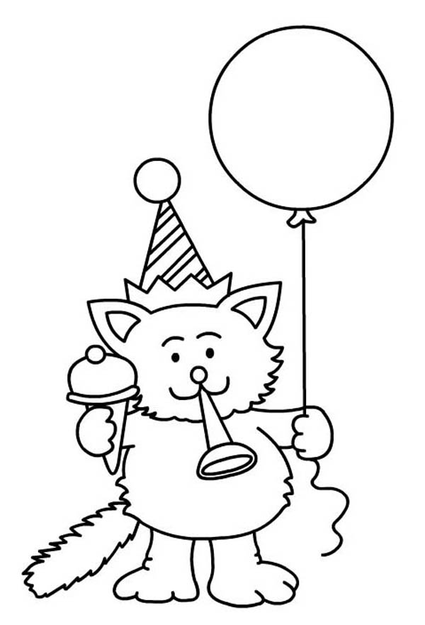 birthday party coloring sheets ; A-Cat-Blowing-a-Horn-for-Happy-Birthday-Party-Coloring-Page