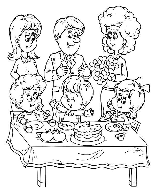 birthday party coloring sheets ; A-Family-Celebrate-Birthday-Boy-Party-Coloring-Pages
