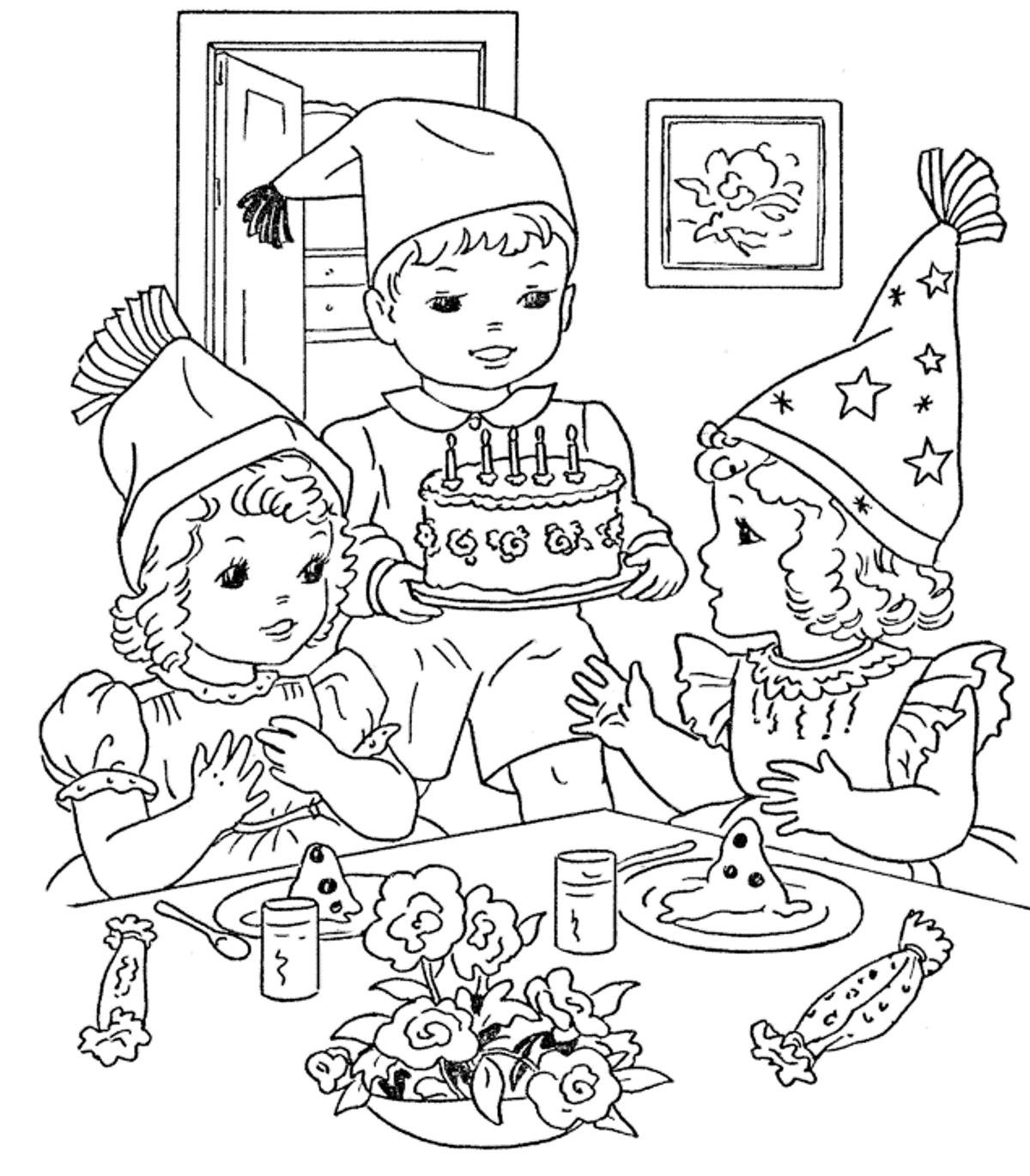 birthday party colouring sheets ; Printable-Pictures-Birthday-Party-Colouring-Pages-75-For-Download-Coloring-Pages-with-Birthday-Party-Colouring-Pages