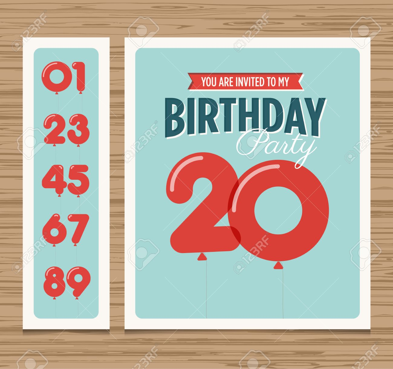 birthday party design templates ; 24019051-birthday-party-invitation-card-balloons-numbers-vector-design-template