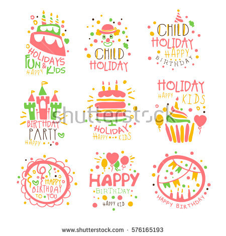 birthday party design templates ; stock-vector-kids-birthday-party-entertainment-promo-signs-set-of-colorful-logo-vector-design-templates-with-576165193