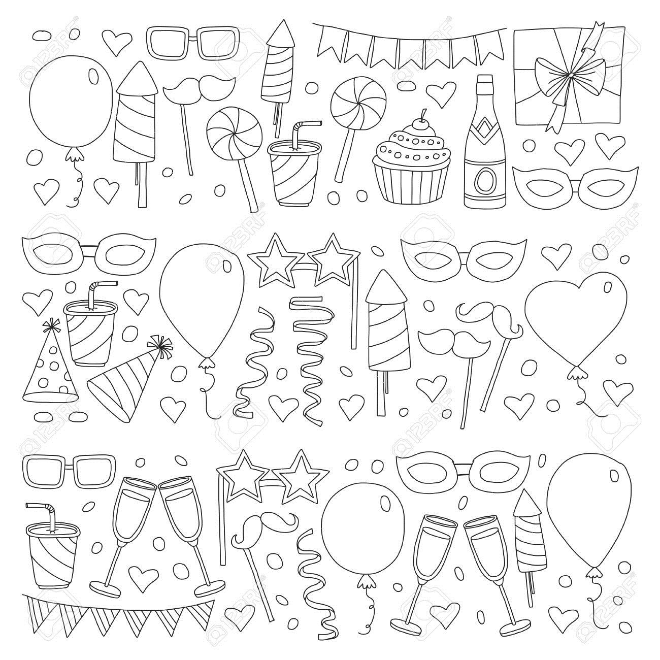 birthday party drawing ; 85817778-set-of-birthday-party-design-elements-kids-drawing-doodle-icons-colorful-balloons-flags-confetti-cup