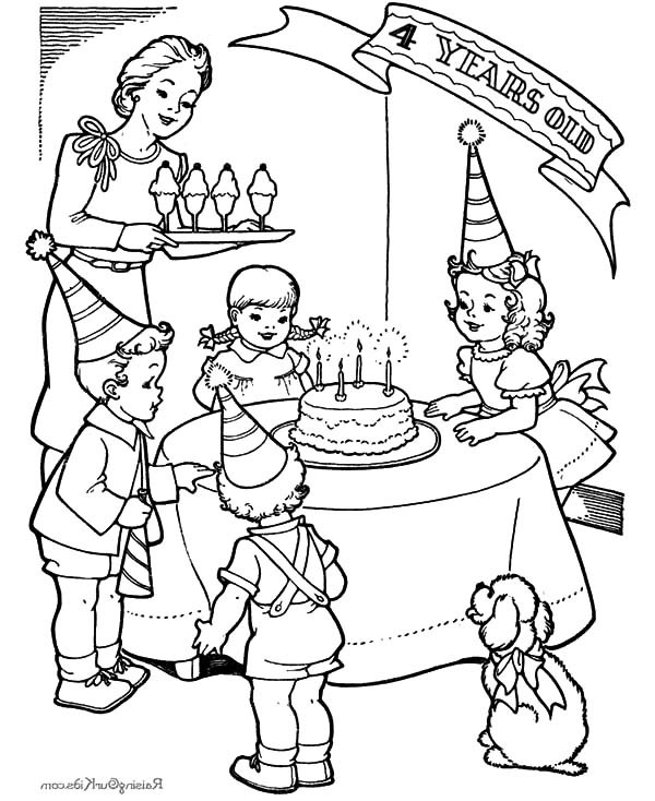 birthday party drawing ; Little-Girl-Fourth-Birthday-Party-Coloring-Pages