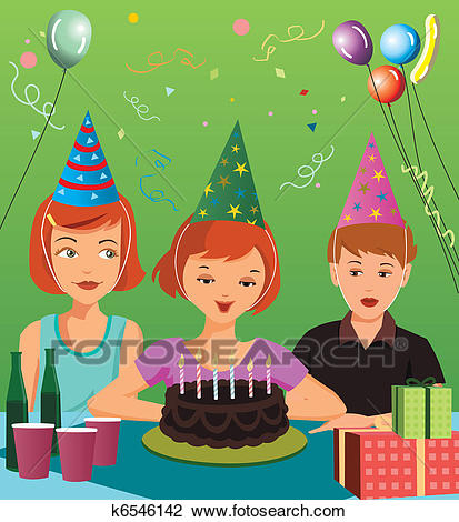 birthday party drawing ; children-at-birthday-party-clip-art__k6546142